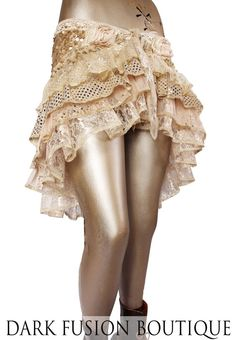 Wrap Couture Cream Sepia Gold Sparkle Skirt by darkfusionboutique