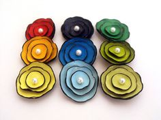 Multicolor cabochon flowers from leaher by HMCreativeSupplies, $20.70