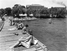 vintage photos from the Northwestern lakefil. I miss college.