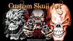 Custom Skull Art by Spano - www.WickedSkulls.com #artbyspano #art #illustration #skulls #paintings #drawings