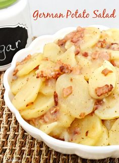 A great side dish or addition to a part or Super Bowl buffet, delicious German Potato Salad can be served hot or cold! At littlemisscelebration.com