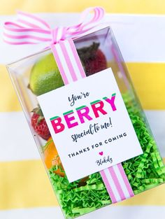 """""""You're Berry Special To Me"""" Favor Box for Two-tti Fruity Party!"""