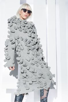 Knitted Surfaces, 3D Textiles - knitted dress with dimensional shape detail; creative knits // DUD.ZIN.SKA