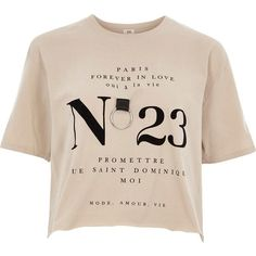 River Island Beige 'no 23' ring cropped T-shirt ($40) ❤ liked on Polyvore featuring tops, t-shirts, beige, print t-shirts / vests, women, print t shirts, pink vest, print crop tops, short sleeve crew neck t shirt and short sleeve tee