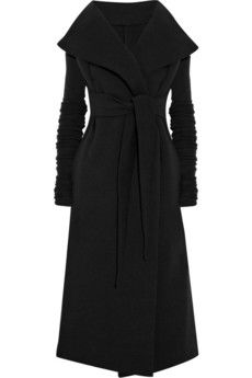 """I like this coat - """"Artfully cut with an exaggerated collar and extra-long sleeves, Rick Owens Lilies' structured-jersey coat exudes avant-garde elegance. Strike a dramatic silhouette by wearing it with leggings and wedge boots."""""""