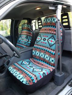 These car seat covers are made out poly fabric and are machine washable. Stretches to fit car, van and truck seats easily and snug