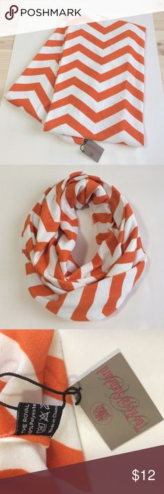 """NWT orange and white infinity loop scarf NWT orange and white chevron loop infinity scarf. 30""""x10"""" New never used. Double knit. Super soft. Perfect for cold game days! royal standard Accessories Scarves & Wraps"""