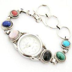 Women's Multi Color Sterling Watch Link Bracelet