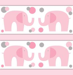 Elephant Wallpaper Border Nursery Decal Pink Grey Gray Girl Baby Room Wall Art  #decampstudios