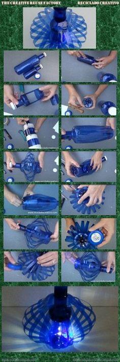 Lámpara decorativa realizada con dos botellas de plástico pet | Aprender manualidades es facilisimo.com