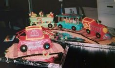 Circus train bday cake with caboose.