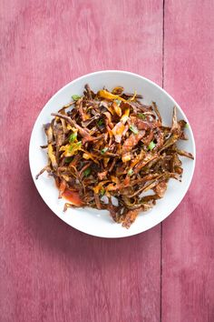 Don't throw away your potato peels! Instead, roast them until crispy and use as a topping for soups and salads — or as a fun base for crunchy appetizers like this one! Great with white OR sweet potato peels.