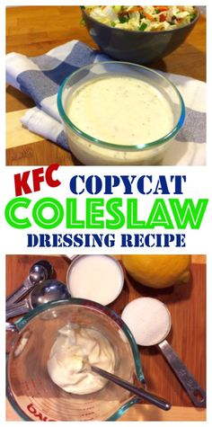 Making Coleslaw Dressing is so cheap and easy, you'll never buy Kraft again!… Making Coleslaw Dressing is so cheap and easy, you'll never buy Kraft again! Plus you get the familiar taste of a great tasting Coleslaw Dressing. Coleslaw Sauce, Copycat Kfc Coleslaw, Homemade Coleslaw Dressing, Creamy Coleslaw Recipe Kfc, Coleslaw Recipes, How To Make Coleslaw, Best Appetizers, Coleslaw Dressing, Restaurant Recipes