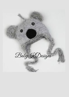 SAVE 15 Crochet Gray KOALA BEAR Boy Girl Beanie by BabyKDesigns, $15.95