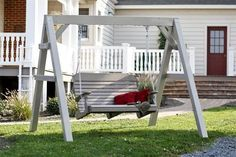 Outdoor Porch Swing Model With its curved seat and contoured back, the Easy Swing is a relaxing experience. Not only does this swing come in extra wide, it is also a great swing for a taller person. Lawn Swing, Pergola Swing, Pergola Patio, Pergola Kits, Pergola Cover, Pergola Ideas, Patio Ideas, Landscaping Ideas, Backyard Landscaping