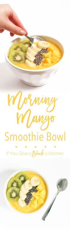 This morning mango smoothie bowl is like a bowl of sunshine for breakfast! Made…