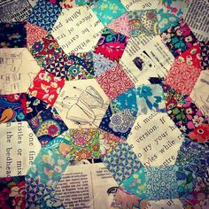 Instagram Photo from @imagingermonkey - Katy Jones. Amazing English Paper Piecing with text prints and new Liberty Lifestyle fabrics!!
