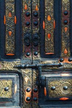Ornate door Souq Medina Marrakesh,  Morocco