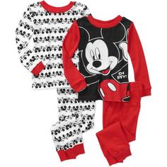 Mickey Mouse Baby Toddler Boy Long Sleeve Cotton Tight Fit Pajamas, 2-Sets - Walmart.com