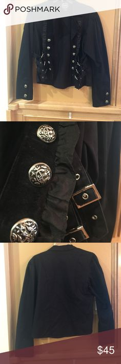 🎉🎉🎉 SALE Black biker design jacket JUST REDUCED Black biker-like design  with  5 silver   faux buttons down  each lapel  and 3 silver buckles  on each side. Each sleeve has 2 matching buttons   100% cotton  made by fun house  fashions. Very cool  looking tough girl  jacket  fun to wear. Almost Sgt pepper  like style Funhouse  Jackets & Coats Jean Jackets