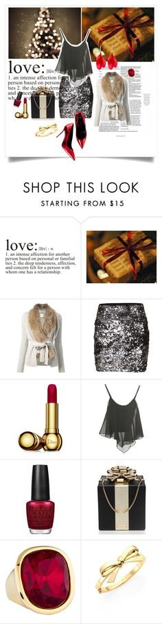 """Christmas eve"" by nordicstyle ❤ liked on Polyvore featuring Yves Salomon, VILA, Christian Dior, OPI, Kate Spade and Kenneth Jay Lane"