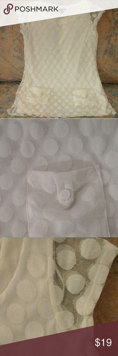 Forever Mesh Knit Polka Dot Top EUC!  White on white mesh knit polka dots, pockets.  Simply cute! Forever Tops Blouses