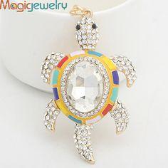 Big Rhinestone Turtle Keychain Keyring Fashion Crystal Animal Alloy Key Chain