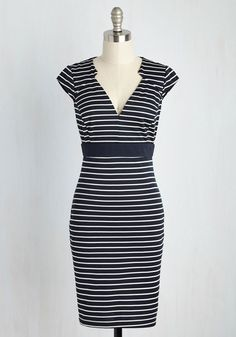 Conference Coordinator Dress - Blue, White, Stripes, Print, Work, Nautical, Sheath, Short Sleeves, Knit, Good, Mid-length
