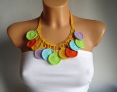 Crochet Necklace – Summer Accessory – Beach Jewelry – Crochet Multicolor Necklace