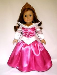Turn your doll into Disney Princess Aurora with this beautiful dress made with satin fabric, bodice lined and Velcro closure in the back. This listing is for the dress, crown and necklace only. The doll and other accessories are not included. This outfit is made to order and it takes aprox. 8-12 days for shipping. I will take orders up to the 1st of december. So order now to have your outfit by Christmas. Thank you!