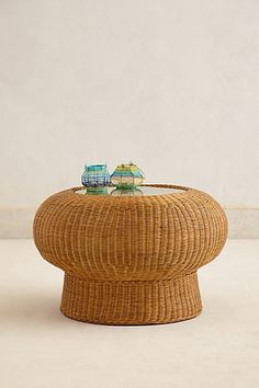 Wicker Pedestal Table - anthropologie.com #anthroregistry . Home decor wicker table #Wicker #Home Decor