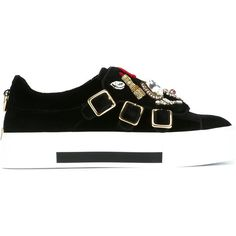 Alexander Mcqueen Alexander Mcqueen 'Obsession' Charms Sneakers ($778) ❤ liked on Polyvore featuring shoes, sneakers, black, round toe shoes, embroidered sneakers, round toe sneakers, black rubber sole shoes and round cap