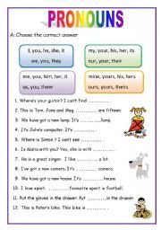 English worksheet: PRONOUNS - 2 pages (English for beginners)