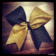 Two colors glitter bow.Black and gold glitter cheer bow.