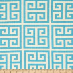 Light Blue and Natural Greek Key Pillow Cover - Premier Prints Towers Mandarin Blue - Pillow Covers Turquoise Pattern, Turquoise Fabric, Turquoise Table, Light Turquoise, Blue Pillow Covers, Duvet Covers, Premier Prints, Geometric Fabric, Fabric Remnants