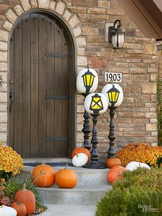 If your decor tends toward the less-scary side, try this clever craft to repurpose ordinary pumpkins.