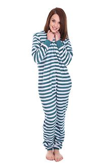 2577462202 Fleece non Footed Pajamas in Minty Stripes
