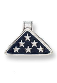Nomades - In Honor Of - Sterling silver folded flag with stars and blue enamel accents.