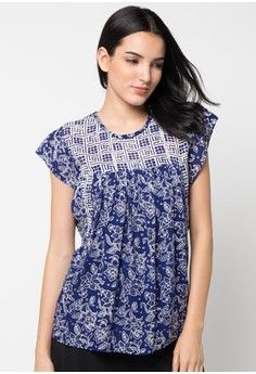 Blouse Paris Pendek Kombinasi from Batik Aksen Tropis in navy_1