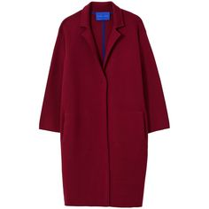 Winser London Milano Wool Single Breasted Coat, Burgundy (6686825 BYR) ❤ liked on Polyvore featuring outerwear, coats, woolen coat, burgundy coat, single breasted coat, red coat and long sleeve coat
