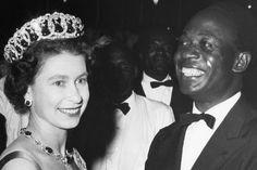 "Queen Elizabeth II and President Nkrumah as they dance the popular Ghana rhythmic shuffle known as the ""High Life"" at the farewell ball Queen Elizabeth Ii, Commonwealth, Gold Coast, Ghana, Edinburgh, Duke, Images, Presidents, Royalty"