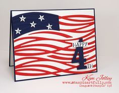handmade 4th of July card from Stampin Artfully: Feeling Patriotic ... Swirly Bird die cut waves serve as the stripes for this graphic look flag ... Stampin' Up!