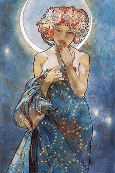 PORTRAIT OF A DAYDREAMER   The Moon fromAlphonse Mucha's TheMoonand...