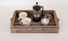 Reclaimed wood serving tray with metal handle by DelHutsonDesigns