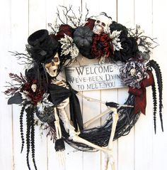 This item is unavailable 28 Skeleton Halloween wreath Gothic Skeleton Halloween Halloween Tags, Halloween Door Wreaths, Halloween Home Decor, Diy Halloween Decorations, Halloween House, Holidays Halloween, Halloween Crafts, Vintage Halloween, Halloween London