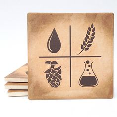 Craft Beer Lover's -Beer Ingredients coaster set - absorbant material