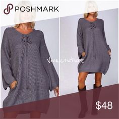 Chic Sweater Tunic Dress Beautiful knit sweater tunic dress with lace up grommet details . Chic with riding boots and tights . Nwt perfect for fall winter . Vivacouture Dresses