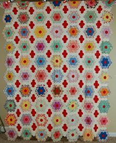 Gorgeous Hand Pieced Vintage 30s Flower Garden Antique Quilt Top Mint Nice Red   eBay
