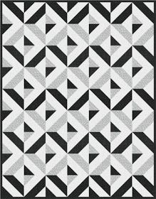 Diamond Day quilt, Designed by Robert Kaufman Fabrics. Pattern is available for FREE through Robert Kaufman Fabrics. Monochromatic Quilt, Neutral Quilt, Monochrome Color, Strip Quilts, Easy Quilts, 3d Quilts, Quilt Block Patterns, Quilt Blocks, Fabric Patterns