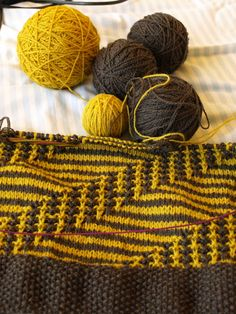"Baby Blanket ""Små Skridt"" by Erika Brandt. Knitted with my own plant dyed yarn."